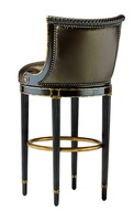 Ionia Counter Stool shown with:Tight seat and backSumatra finishAged Gold Leaf trimBronze Star nailhead frame trimAntique Brass foot