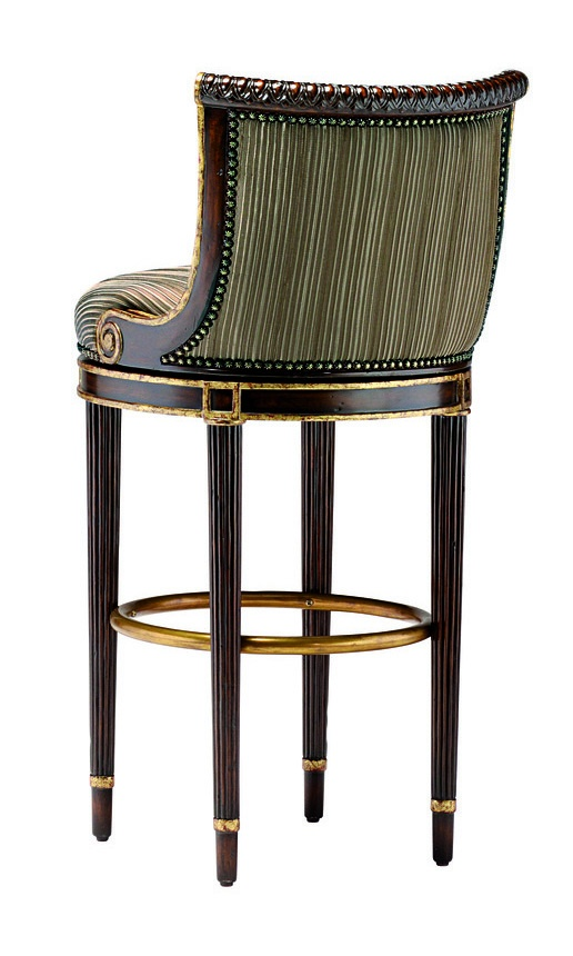Ionia Counter Stool shown with:Tight seat and backSumatra finishAged Gold Leaf trimBronze Star nailhead frame trimAntique Brass footrest