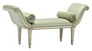 Ionia Bench shown with:Tight seatDover finishSilver Star nailhead frame trim