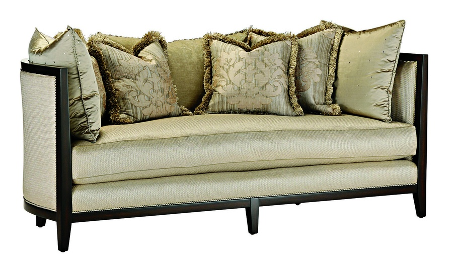 Katya Sofa shown with: Boxed bench seatBuilt-to-the-floor with wood base and legs inContemporary Havana finish Silver nailhead frame trim