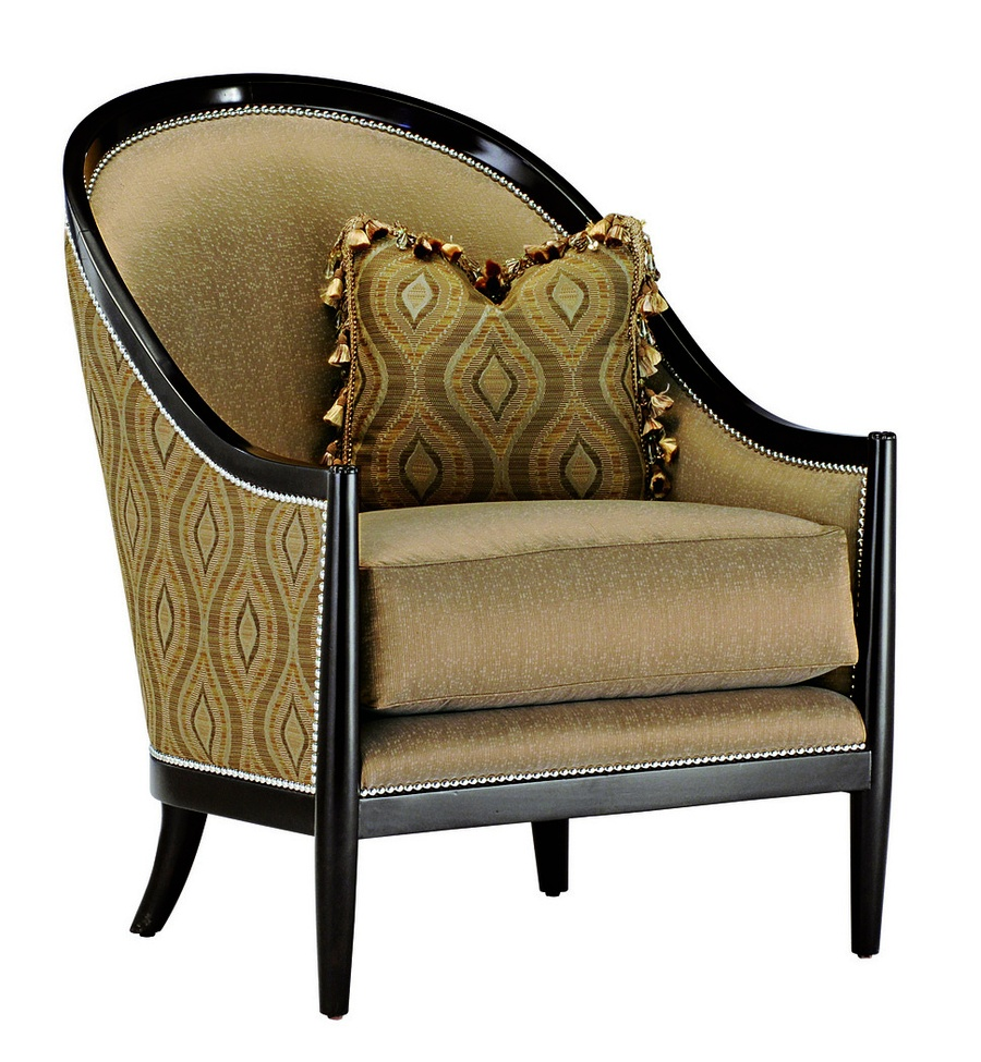 Largo Chair shown with:Boxed seat cushionSumatra finishSilver nailhead frame trim