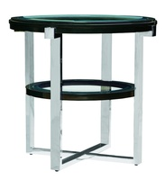 Lake Shore Drive EndTable shown with:CaviarfinishStainless Steel metal frameInset clear glasstop and shelf with beveled edge