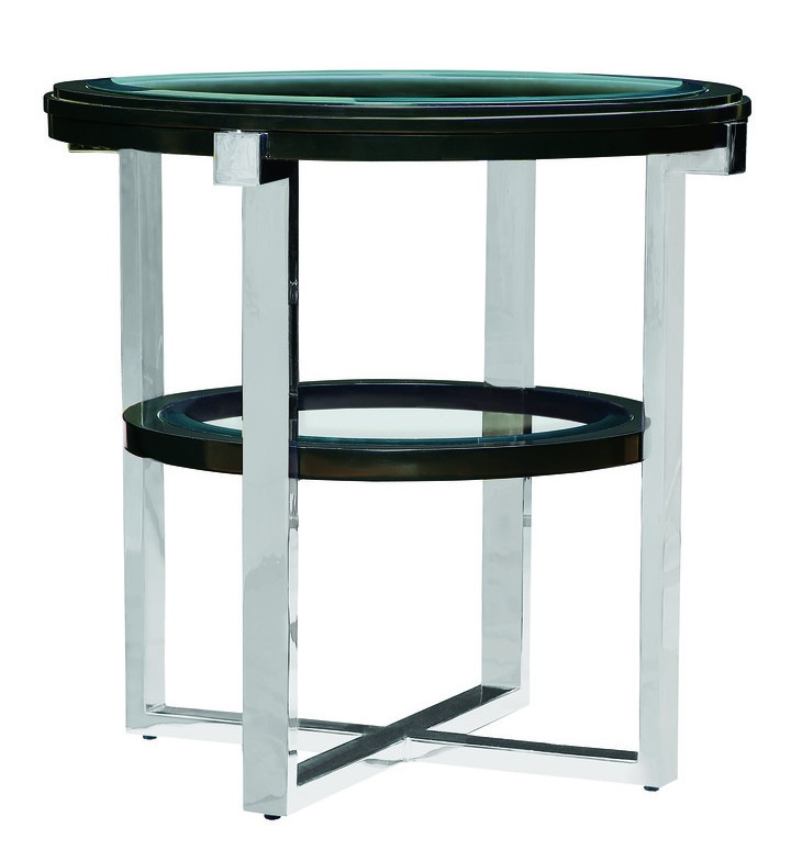 Lake Shore Drive End Table shown with:Caviar finishSatin Brass metal frameInset clear glass top and shelf with beveled edge