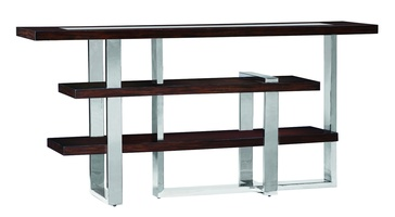 Lake Shore Drive Console shown with:Bombay finishStainless Steel metal frame and top inset