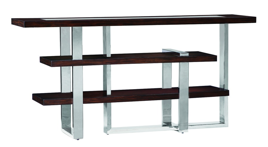 Lake Shore Drive Console shown with:Caviar finishSatin Brass metal frame and top