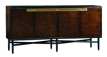 Lake Shore Drive Credenza shown with:Contemporary Havana finishContrast legs and base in Caviar finishPolished Black Galaxy Granite topSatin Brass hardware