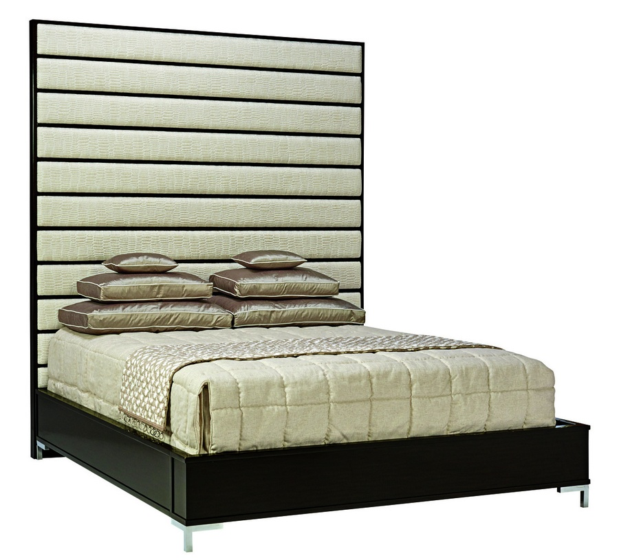Lake Shore Drive Panel Bed shown with:Bombay finishStainless Steel metal legsChanneled inset upholstery