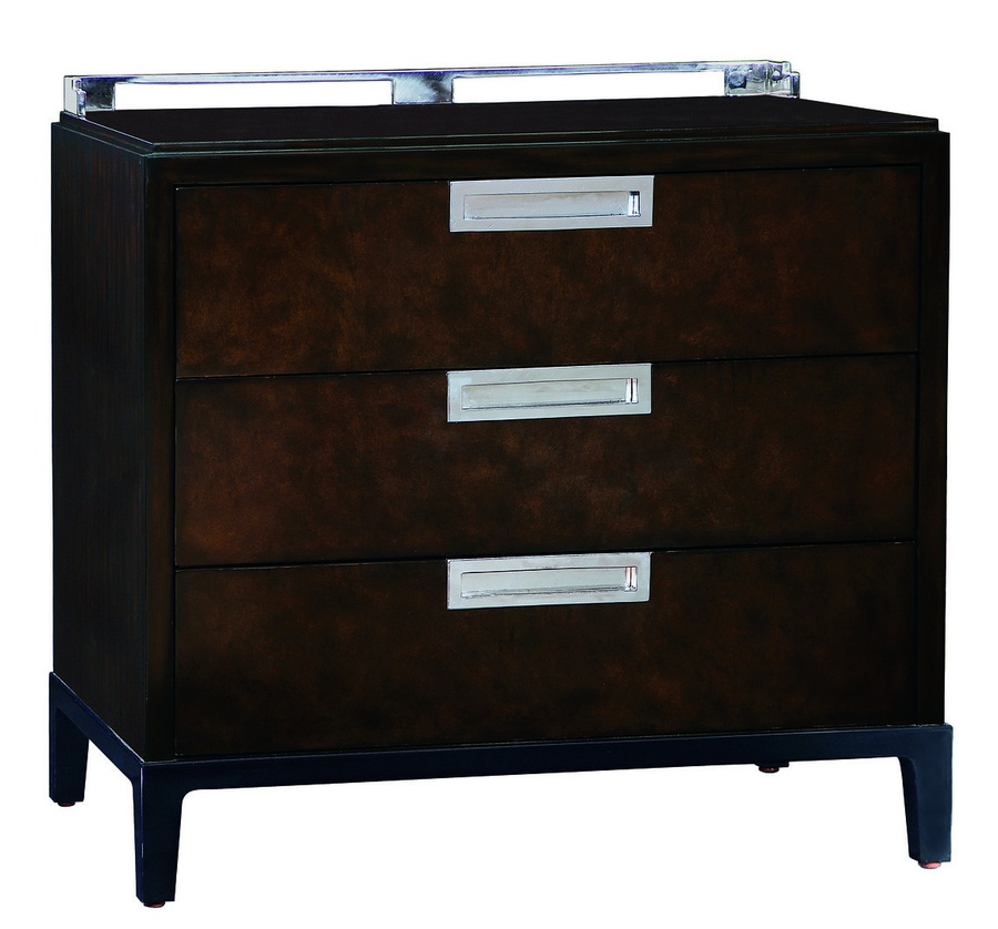 Lake Shore Drive Nightstand shown with:Contemporary Havana finishContrast base in Caviar finishPolished Black Galaxy Granite topStainless Steel hardware and gallery