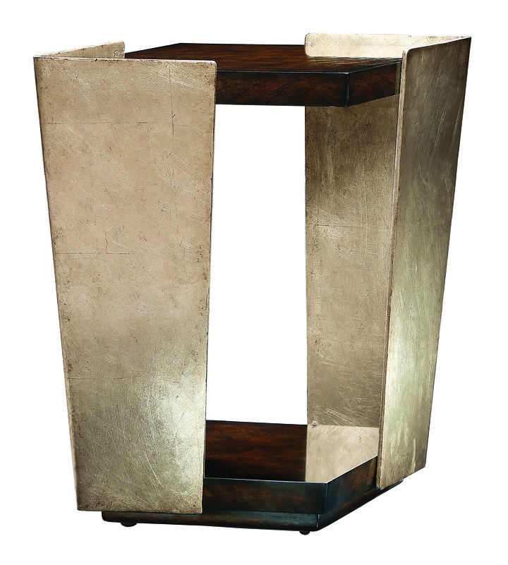 Lake Shore Drive Chairside Table shown with:Contemporary Havana finishBurnished Silver finish on metal frame