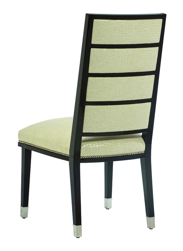 Lake Shore Drive Side Chairshown with:Tight seat and backBombayfinishPolished Nickel ferrules at feetSilver nailhead frame trim