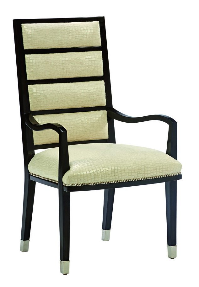 Lake Shore Drive Arm Chair shown with:Tight seat and backBombay finishPolished Nickel ferrules at feetSilver nailhead frame trim