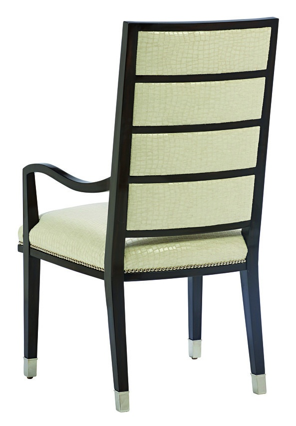 Lake Shore Drive Arm Chairshown with:Tight seat and backBombayfinishPolished Nickel ferrules at feetSilver nailhead frame trim