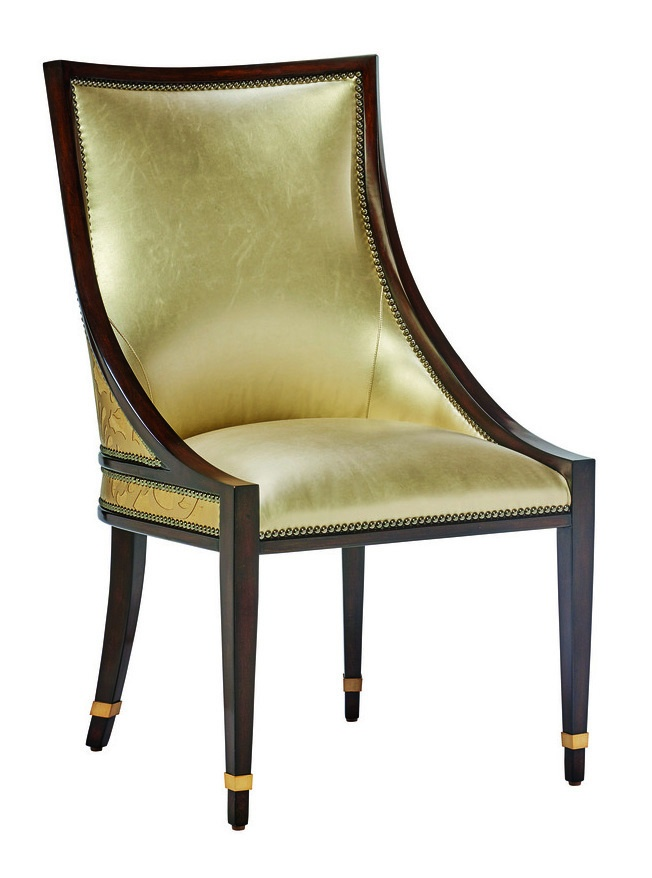 Lake Shore Drive Side Chair shown with:Tight seat and backContemporary Havana finishSatin Brass metal bands at feetGunmetal nailhead frame trim