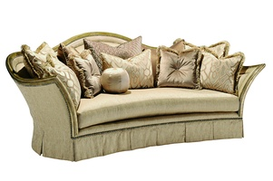 Luciana Sofa shown with: Boxed bench seatBox-pleated skirt with dressmaker sides and back and decorative button detailBurnished Silver finish Silver Star nailhead frame trim