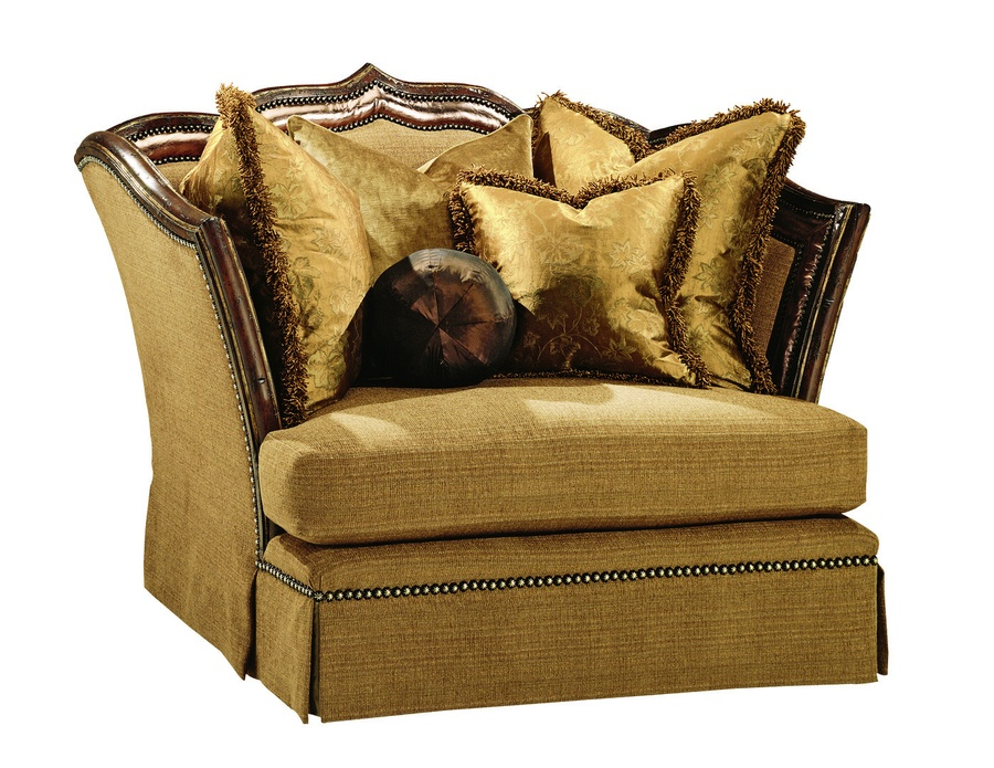 Lizette Chair and A Half shown with:Boxed seat cushionContrast panel along inside arms and backDeep skirt with built-in back and sidesOld World Hazelnut finishAged Gold Leaf finish trimBronze Star nailhead frame trim
