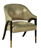 Max Chair shown with:Tight seat and backContemporary Havana finishSatin Brass ferrulesSilver nailhead frame trim