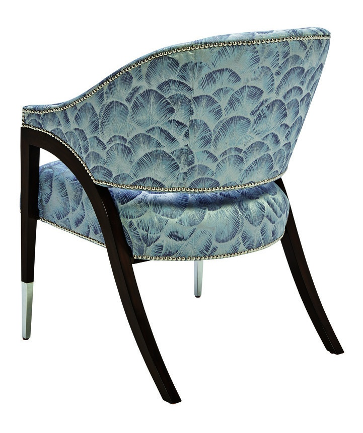 Max Chair shown with:Tight seat and backBombay finishPolished Nickel ferrulesSilver nailhead frame trim