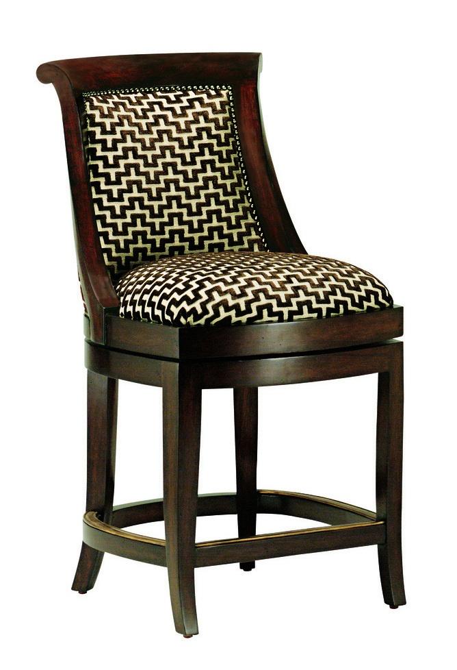 Metropolitan Counter Stoolshown with:Tight seat and backRiviera finishAntique Brassnailhead frame trimAntique Brass footrest