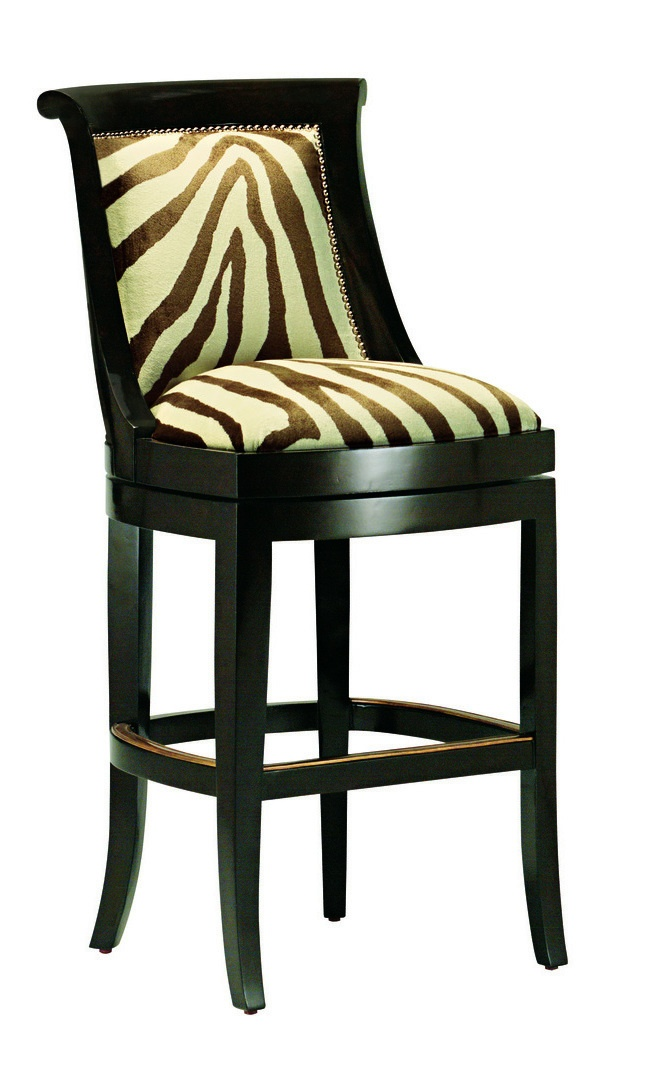 Metropolitan Barstool shown with:Tight seat and backSumatra finishSilver nailhead frame trimAntique Brass footrest