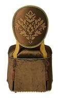 Mirielle VanityChairshown with:Tight seat and backDeep skirt with decorative tape along bottom of skirtVenetian Gold finishZanzibar nailhead frame trimAccessory tassel ties