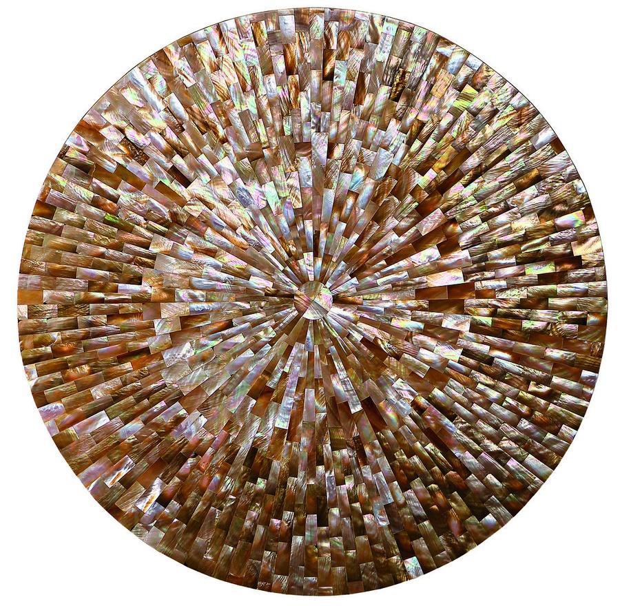 Malibu Round DoorChest shown with:Kona finishSumatra finish on plinth basePolishedCrystal Stone Beige topPolished Nickel hardware