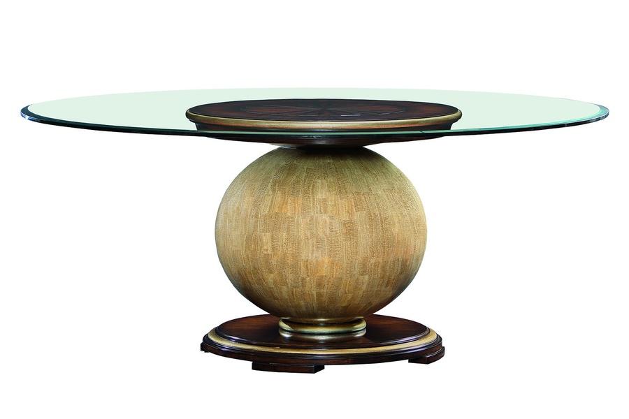 Malibu Dining Tableshown with:Contemporary HavanafinishBurnished Silver Leaf finish trimPolished Stone Camel spherepedestal