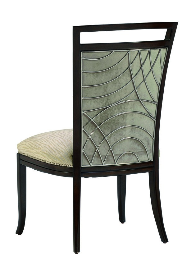 Malibu Side Chair shown with:Tight seat and backKona finishStainless Steel back grillSilver nailhead frame trim