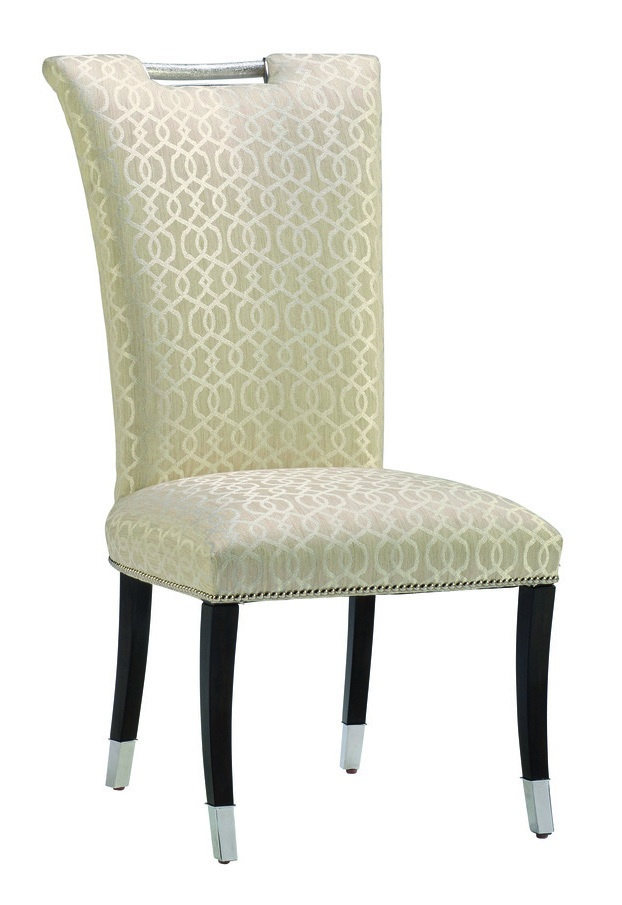 Malibu Side Chair shown with:Tight seat and backBombay finishPolished Nickel hardware and ferrules at feetSilver nailhead frame trim