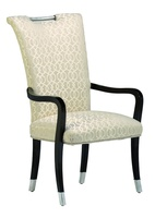 Malibu Arm Chair shown with:Tight seat and backBombay finishPolished Nickel hardware and ferrules at feetSilver nailhead frame trim