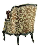 Marguerite Chair shown with:Boxed seat cushionOld World Sumatra finishAged Gold Leaf finish trimSilver Star nailhead frame trim