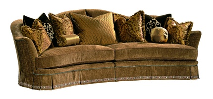 Maritza 2-Piece Sofa shown with: Boxed bench seat Deep skirt with built-in sides and backDecorative tape band alongbottom of skirtAntique Brass nailhead frame trim
