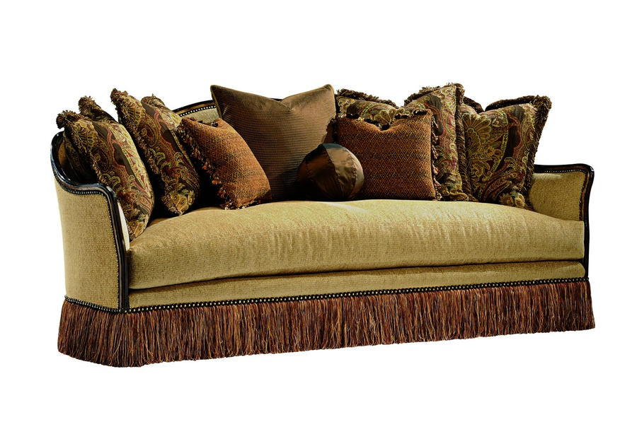 Murano Sofa shown with: Boxed bench seatBullionOld World Havana finishAged Gold Leaf finish trimBronze Star nailhead frame trim