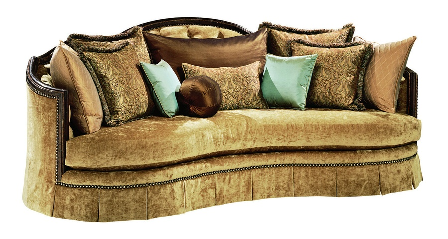 Natalia Sofa shown with: Boxed bench seatButton tufted back Deep box pleated skirt with built-in sides and backExposed carved hardwood frame in choice of select finishesBronze Star nailhead frame trim