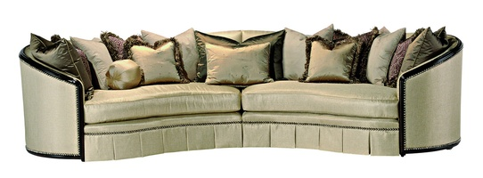 Odessa 2-PieceSofa shown with: Boxed bench seatBuilt-to-the-floor base with box pleated deep front skirtHavana finishEbony Paint finish trim Silver Star nailhead frame trim