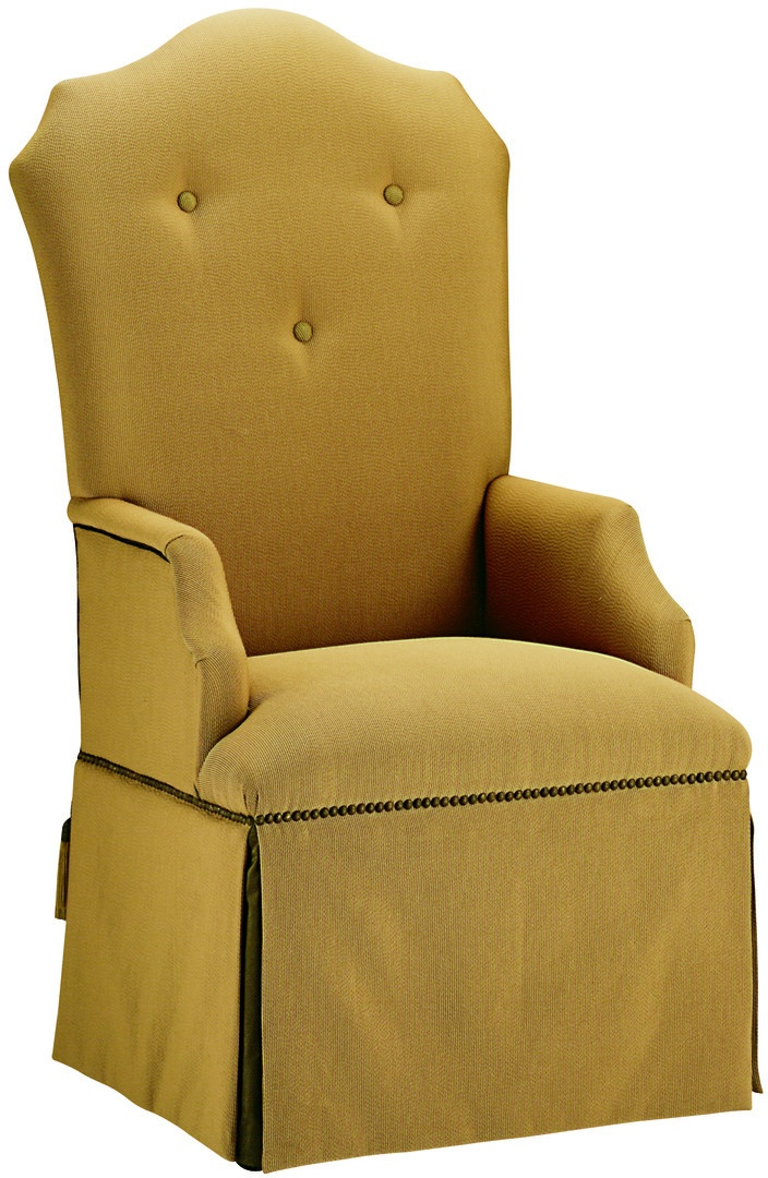 Opera Arm Chair shown with:Tight seatTight back with button detailWaterfall skirtMottled nailhead frame trimAccessory tassel ties
