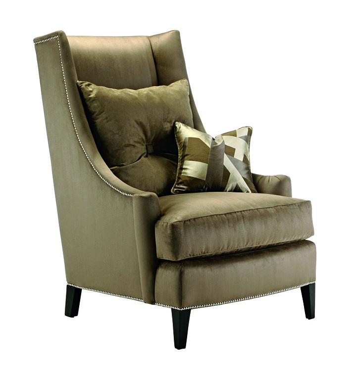 Parker Lounge Chair shown with: Boxed seat cushion Bombay finish Silver nailhead frame trim