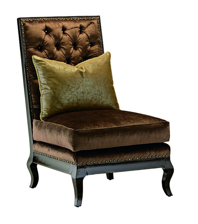 Persephone Lounge Chairshown with:Semi-attached boxed seat cushionButton tufted backOld World Vintage NoirfinishBronze Starnailhead frame trim spaced over decorative tape