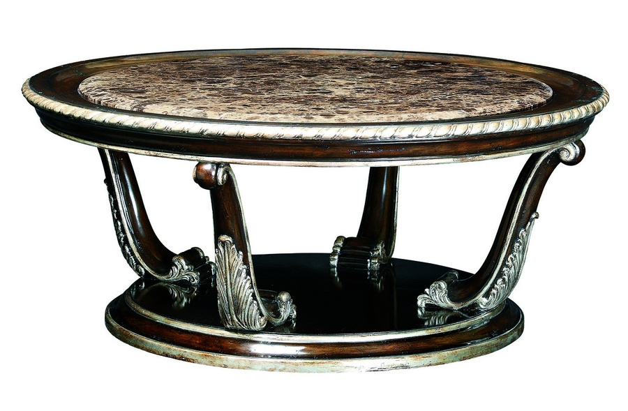 Piazza San Marco Cocktail Table shown with:Old World Havana finishBurnished Silver Leaf finish trimPolished Madeira Marble top