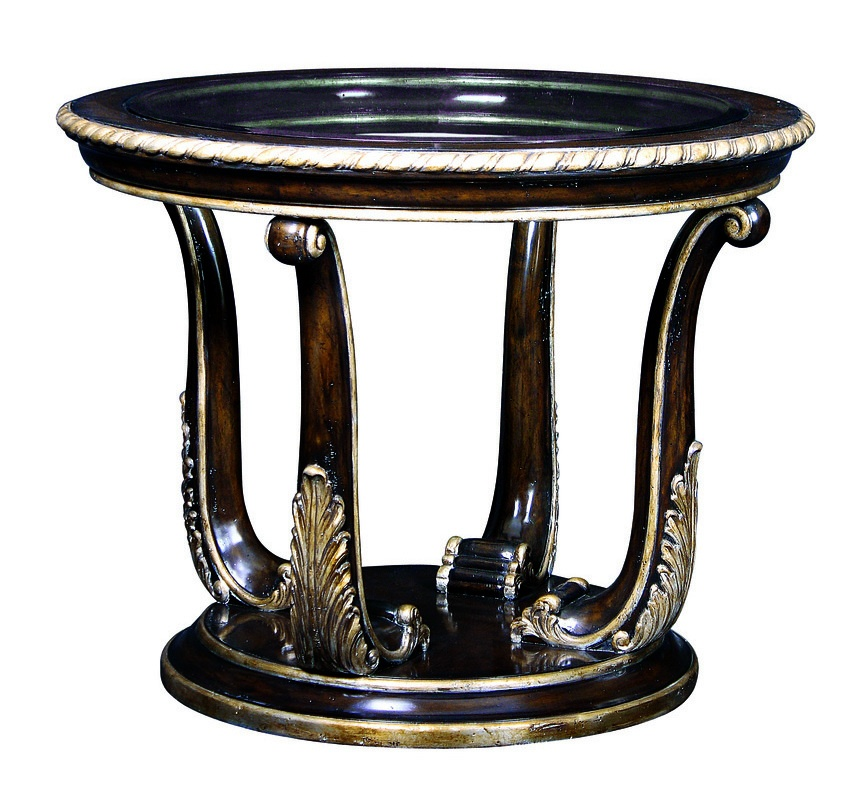 Piazza San Marco End Table shown with:Old World Orleans finishVersailles Leaf finish trimInset clear glass top with beveled edge