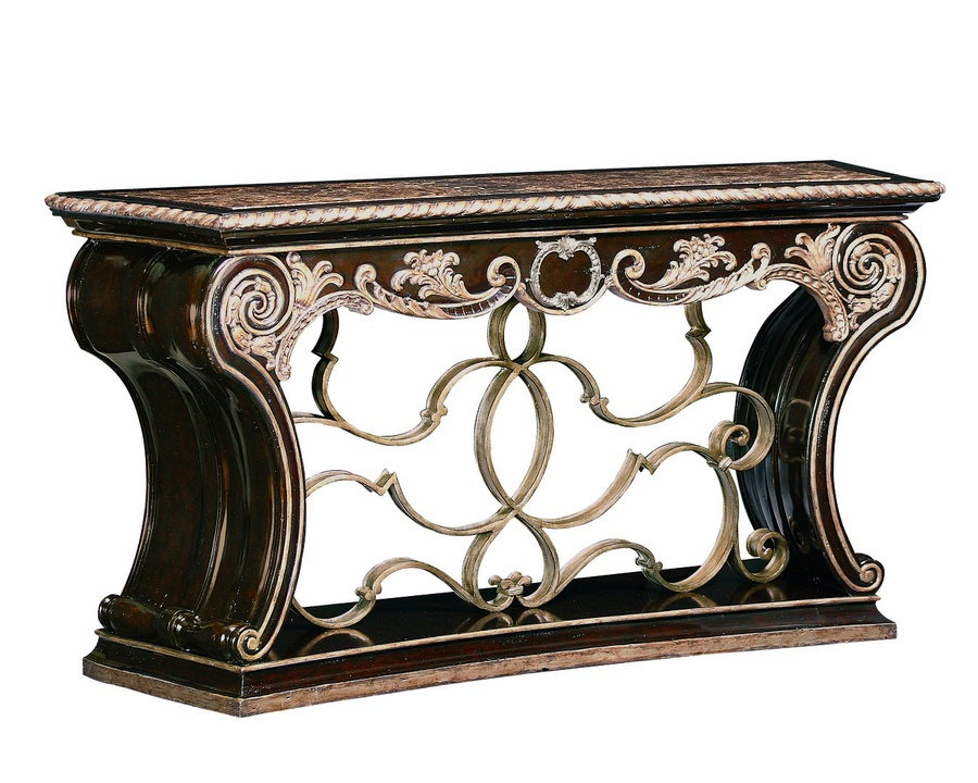Piazza San Marco Console shown with:Old World Briar finishAged Silver Leaf finish trimDecorative metalwork in Aged Metal finishPolished Madeira Marble top