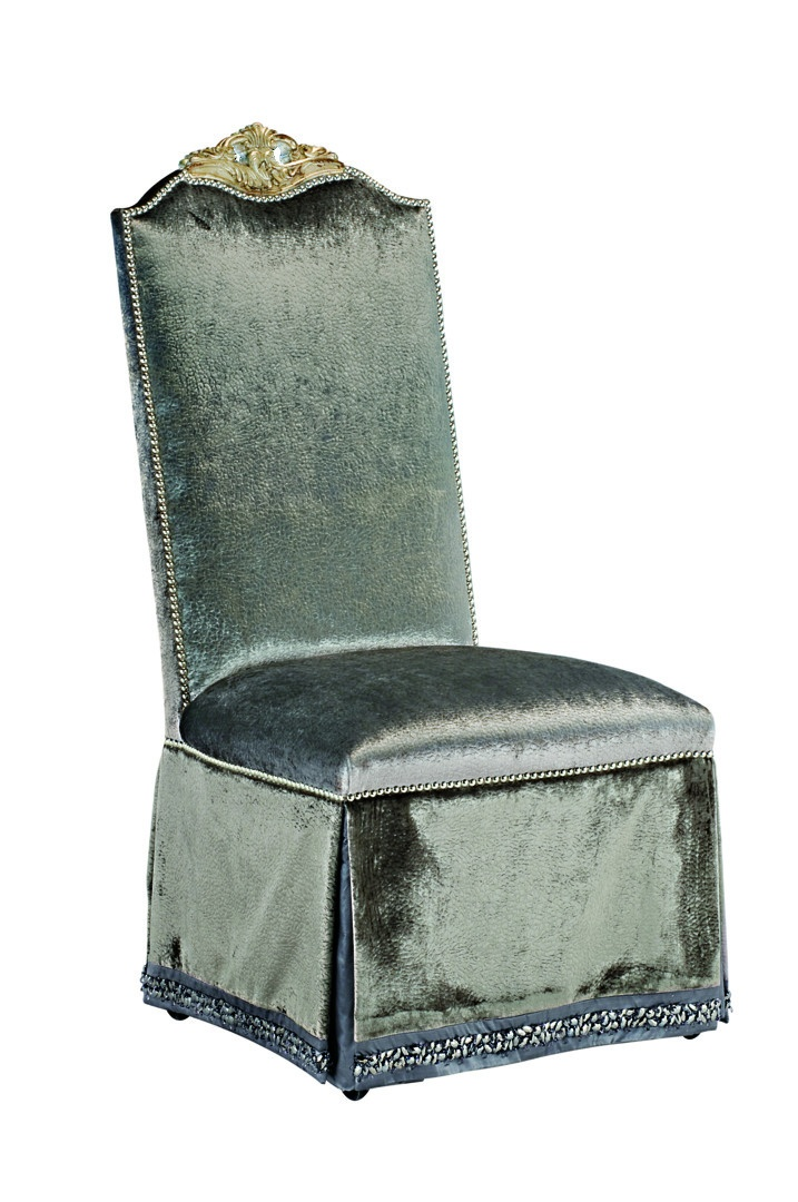 Piazza San Marco Side Chair shown with:Tight seat and backDeep skirt with split back and closure detailDecorative tape band along bottom of skirtSilver nailhead frame trim