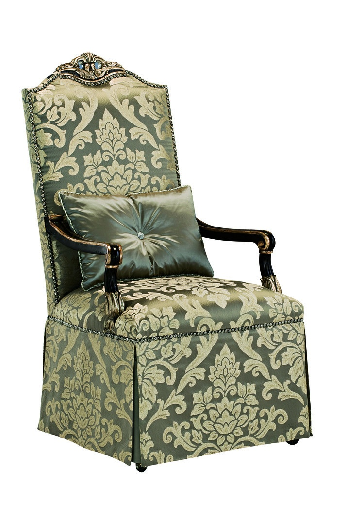 Piazza San Marco Arm Chair shown with:Tight seat and backDeep skirt with split back and button detailOld World Orleans finishVersailles Leaf finish trimSilver Star nailhead frame trim