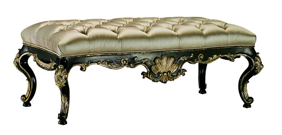 Piazza San Marco Bench shown with:Button tufted seatOld World Sumatra finishSilver nailhead frame trim