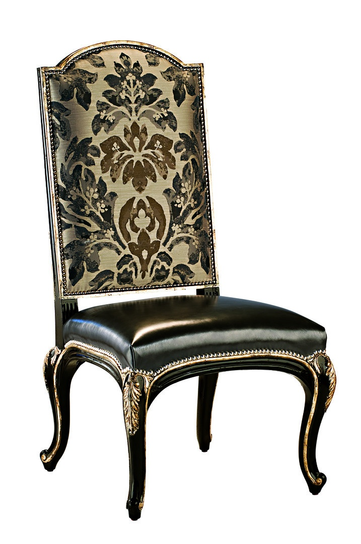 Piazza San Marco Side Chair shown with:Tight seat and backOld World Sumatra finishVersailles Leaf finish trimSilver nailhead frame trim