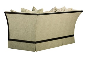 Riley Sofa shown with:Boxed bench seatDeep skirtHavana finishAntique Brass nailhead frame trim