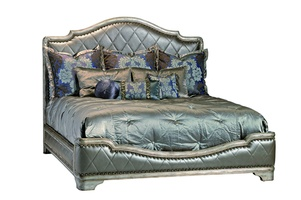 Rivoli Panel Bed shown with:Diamond quilted upholstered headboard, footboard, and side railsSilver Cloud finishSilver Star nailhead frame trim spaced over tape