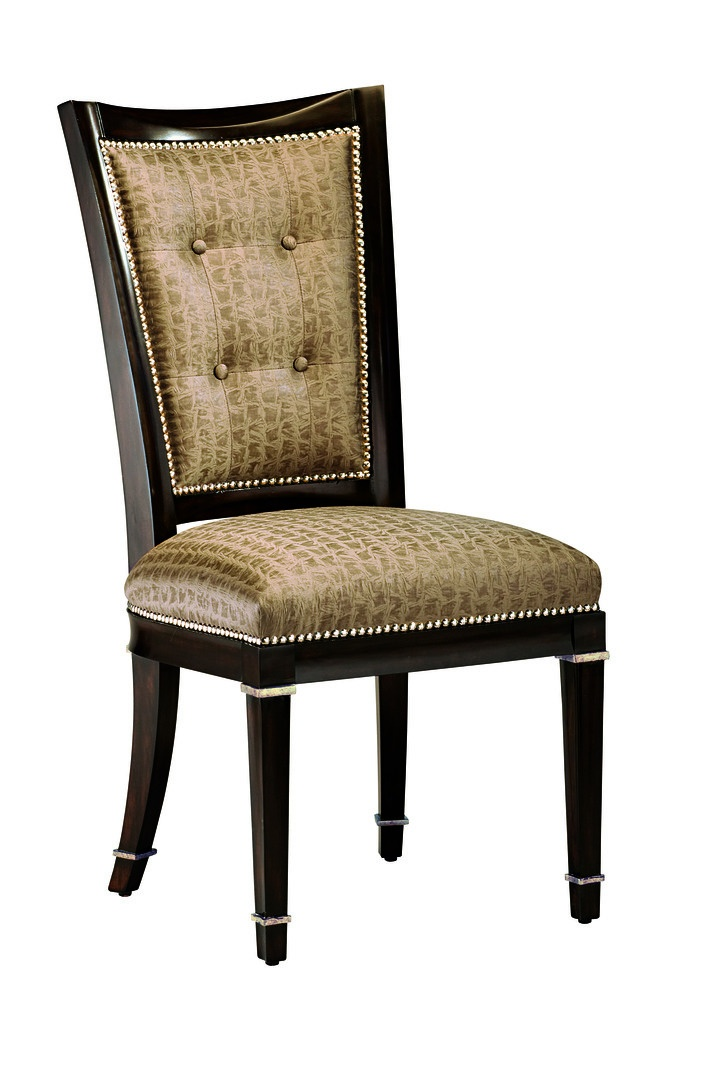 Samba Side Chair shown with:Tight seatTight back with button detailBombay finish with Burnished Silver Leaf finish trimGlitterati nailhead frame trim