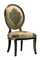 Samba Side Chair shown with:Tight seat and backBombay finishBurnished Silver Leaf finish trimMetal back inset in Polished Nickel finish withPolished Gold stud accentsGlitterati nailhead frame trim