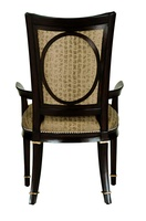 Samba Side Chair shown with:Tight seatTight back with button detailUpholstered Outside Back with Exposed Wood Framed Oval DetailBombay finish with Burnished Silver Leaf finish trimGlitterati nailhead frame trim