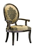 Samba Arm Chair shown with:Tight seat and backBombay finishBurnished Silver Leaf finish trimMetal back inset in Polished Nickel finish withPolished Gold stud accentsGlitterati nailhead frame trim